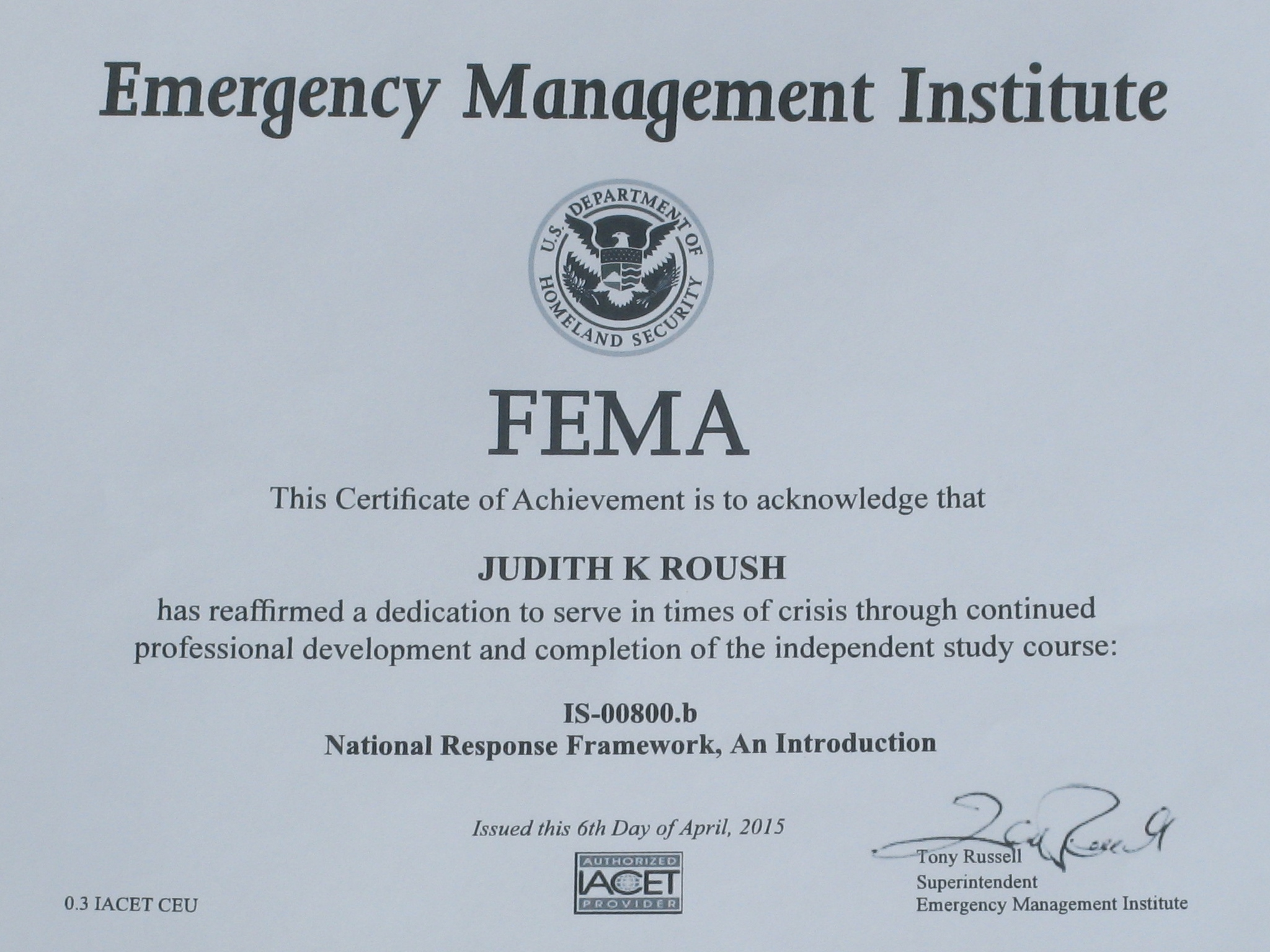 Search rescue puli club of america certificate sar fema certificate xflitez Gallery